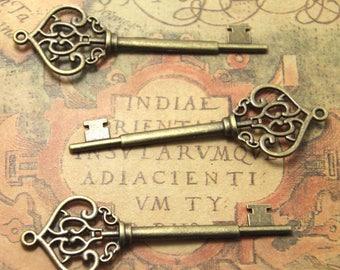8 pcs vintage key Charms,bronze tone filigree key Charms Pendants 70x22mm ASD1171