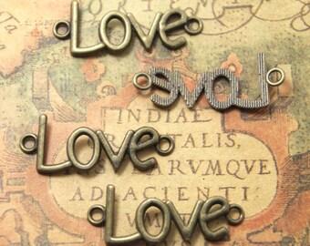 12pcs lovecharms bronze tone love connector Charm Pendants 40x20mm ASD1183
