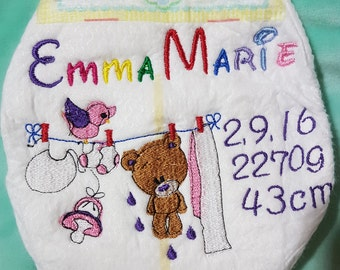 Embroidered diaper
