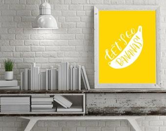 Banana digital print/fruit print/go bananas print/print banana/banana printable/banana poster/yellow banana print/banana printable art