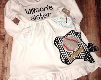 Girls applique baseball dress - girls appliqued dress - girls dress - baseball applique dress