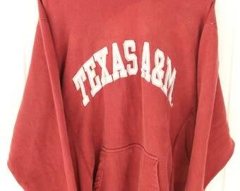 90's Vintage TEXAS A&M Aggies Marion Hoodie College Station Texas Fightin' Aggies 12th Man Size Medium