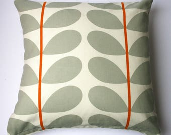 Scandinavian style large stem cushion in orange and grey (cushion pad included)
