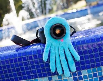 Photographer gift, lens buddy, Lens critter, camera buddy, camera lens buddy, camera gifts, camera toy, lens cuddle - Fancy Blue Monster