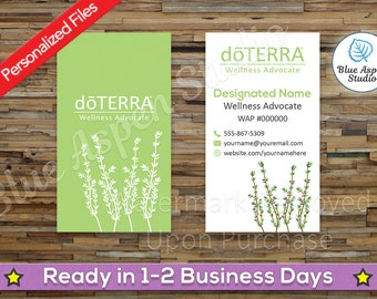 doTERRA Business Cards Printable Personalized Custom Customized Essential Oil Oils Full Color Sage Green Vertical Logo Drawing DTR-BC203