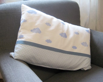 Pillow with hand-printed cloud blue