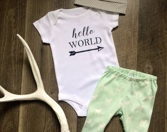 Hello World Going Home Outfit //Baby Leggings, Onesie & Top Knot Beanie or Top Knot Headband