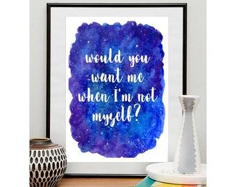Not Myself - John Mayer lyric Digital Prints in 3 sizes
