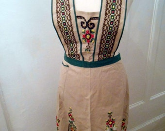 30s vintage apron beige embroidered original