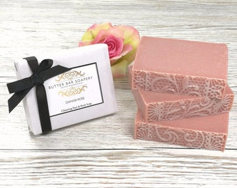 Rose Pink Clay Face Soap Bar, Natural Handmade Soap, Cleansing Bar, Aloe Vera Soap, Floral Soap, Gift for Her, Vegan Soap, Bridesmaid Gift