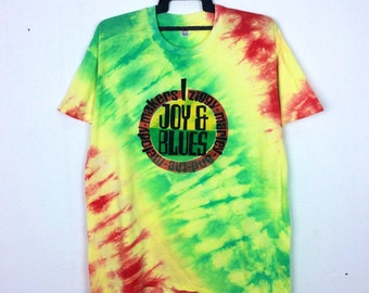 RARE!! Vintage 1993 Ziggy Marley And The Melody Makers  Joy & Blues Tie Dye Shirt Raggae Party Music Lover XXL Size Made in USA