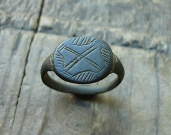 Ancient Crusaders C. 13th-14th C. AD Bronze Ring with a Cross US & Canadian approx. size 9 1/4 British and Australian approx. size S 1/4