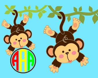 Monkey monogram SVG Clipart Cut Files Silhouette Cameo Svg for Cricut and Vinyl File cutting Digital cuts file DXF Png Pdf Eps clip art
