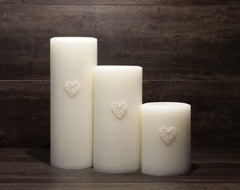 CocoPalm Embellished Pillars - Rustic, Home Decor Candle