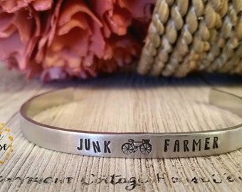 Junk farmer custom cuff bracelet, stacking bracelet, shabby chic, antique love, repurposed, recycle, farmhouse style, cottage jewelry,rustic