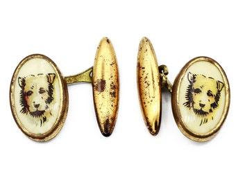 Antique 1920s Dog Cufflinks, Gilt Gold Oval Cufflinks, Edwardian Mens Jewelry, Art Deco Mens Cuff Links, Animal Dog Jewelry, Dog Lover Gift