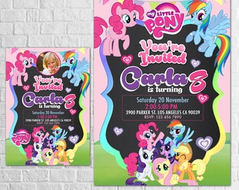My Little Pony Invitation, My Little Pony Birthday Invitation, Pinkie Pie Invitation, Party Invites, Rainbow and Dash Invitation, Thank You