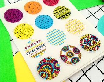 neon tribal stickers, Round tribal stickers, Bright round stickers, African tribal stickers, African envelope seals, Tribal envelope seals,