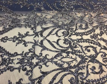 Navy Blue Royalty Design Embroider With Sequins On A 2 Way Stretch Mesh-yard