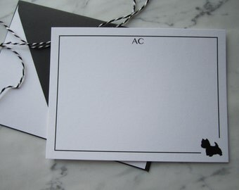 Personalised Notecards with Initials and Design - Set of 5 Cards with Envelopes