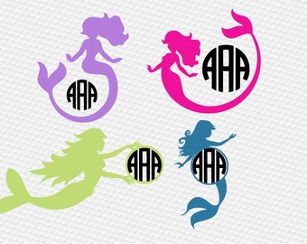 Mermaid Monogram SVG Clipart Cut Files Silhouette Cameo Svg for Cricut and Vinyl File cutting Digital cuts file DXF Png Pdf Eps