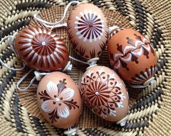 5  Vintage handpainted eggs - natural colours