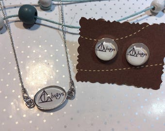"Harry Potter 925 sterling silver necklace earrings ""Always"""