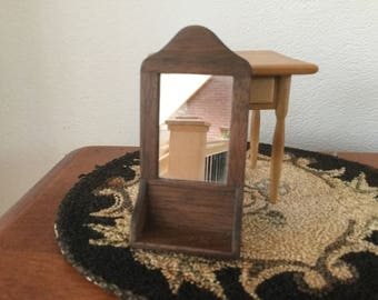 Miniature Dollhouse Wall Mirror with shelf