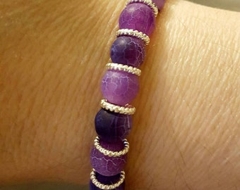 Frosted agate gemstone bracelet & gift box