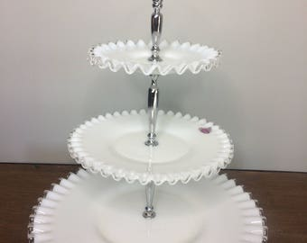 Fenton Silvercrest Silver Crest Milk Glass 3-Tier Tidbit Tray - Wedding, Baby Shower
