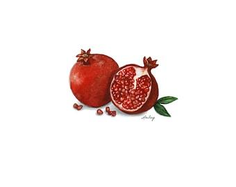 Pomegranate Painting, Watercolor Fruit, Original Art Print, 8x10