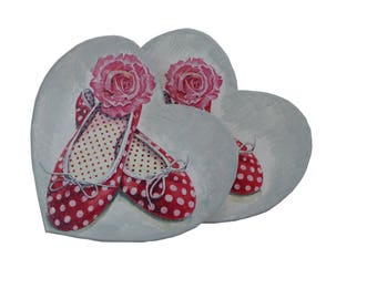 Heart shaped box with the image of red-white-dotted ballerinas