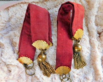 Vintage Antique Oriental Style Tie Backs for Curtains Brass Tassels Maroon with Brass Fans 18 inches Shabby Chic Bohemian Style