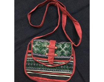 Vintage Handmade Tribal BlackHmong shoulder bag