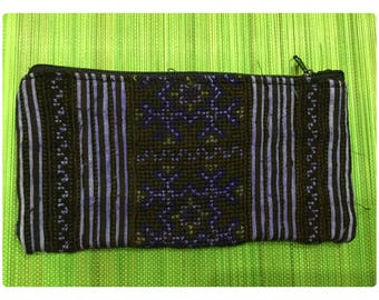 Vintage Handmade Tribal BlackHmong embroidered cotton money purse