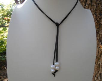 Black Leather Cord With Baroque Pearls Necklace