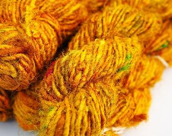 Sari Silk Fibre, Sari Silk Yarn, Gold Sari Silk, Wet Felting, Nuno Felting, Felting Supplies