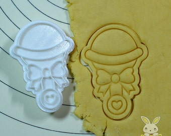 Baby Rattle Cookie Cutter and Stamp Set
