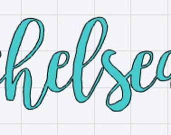 Script font vinyl name
