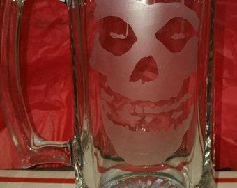 Etched Misfits Glass Beer Mug