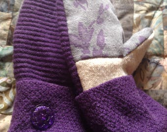 PANCAN Fundraiser purple upcycled sweater mittens with vintage glass buttons