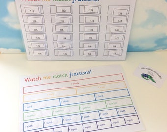 Fractions matching learning sheet, KS2, Key stage 2, teaching resource, visual learner, Velcro, Junior school aid