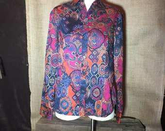 90s Jones New York Multi Color Funky Print Cotton Blouse Medium