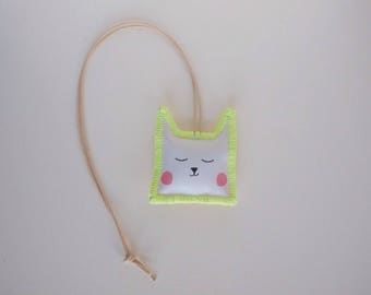 Necklace Cat | Hand Made | Neon Yellow/Green stitches