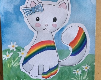 rainbow cat, original watercolour paingting