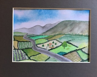 original watercolour painting, landscrape