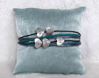 Wrap bracelet leather black turquoise grey heart