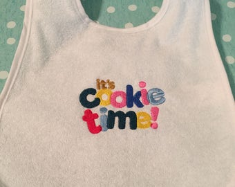 Custom Embroidered It's Cookie Time Baby Bib