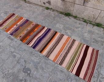 Kilim Runner Rug 1'9'' x ''8'' Feet (58 cm x 246 cm) Vintage Turkish Kilim, Kilim, Kilim Rug