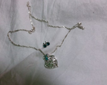 December birthstone, heart shaped necklace and earring set
